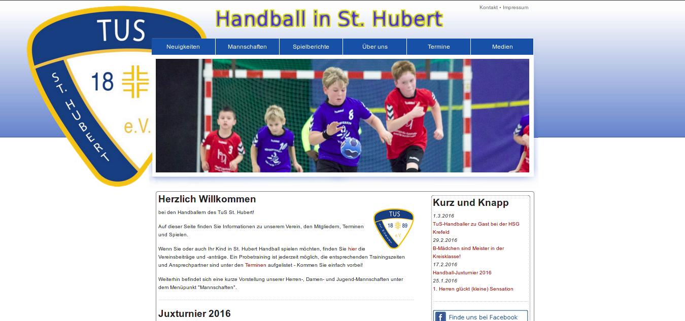 Zur Erinnerung: Die alte Homepage der St. Huberter Handballer.